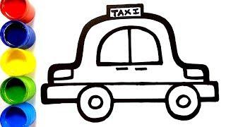 Glitter Taxi Coloring Pages For Kids | Taksi Halaman Mewarnai | Como Desenhar um táxi | Colorsfun