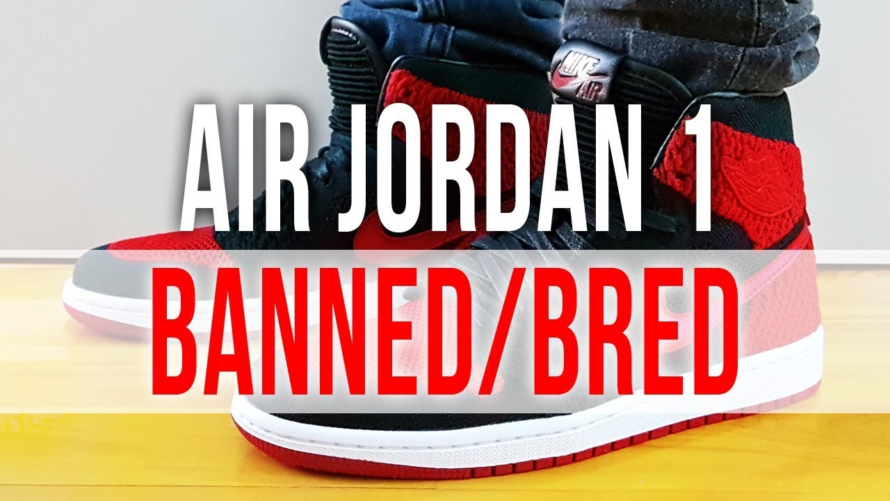 release date f3eb3 c554a AIR JORDAN 1 RETRO HIGH FLYKNIT BANNED BRED 2017 on Feet and Close Up