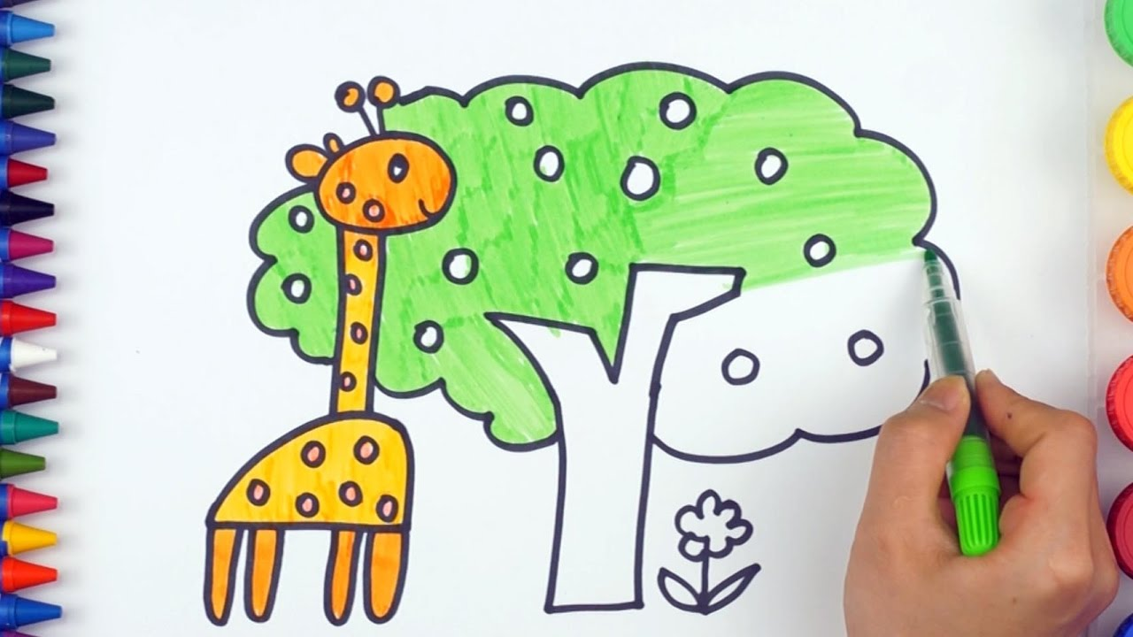 Teach Draw and Coloring Animals Giraffe | Simple Examples of ...