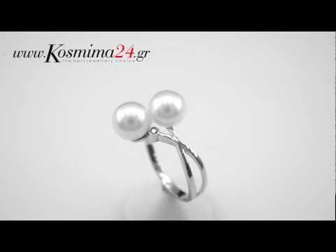 Λευκόχρυσο 18Κ δαχτυλίδι με μαργαριτάρια και διαμάντι
