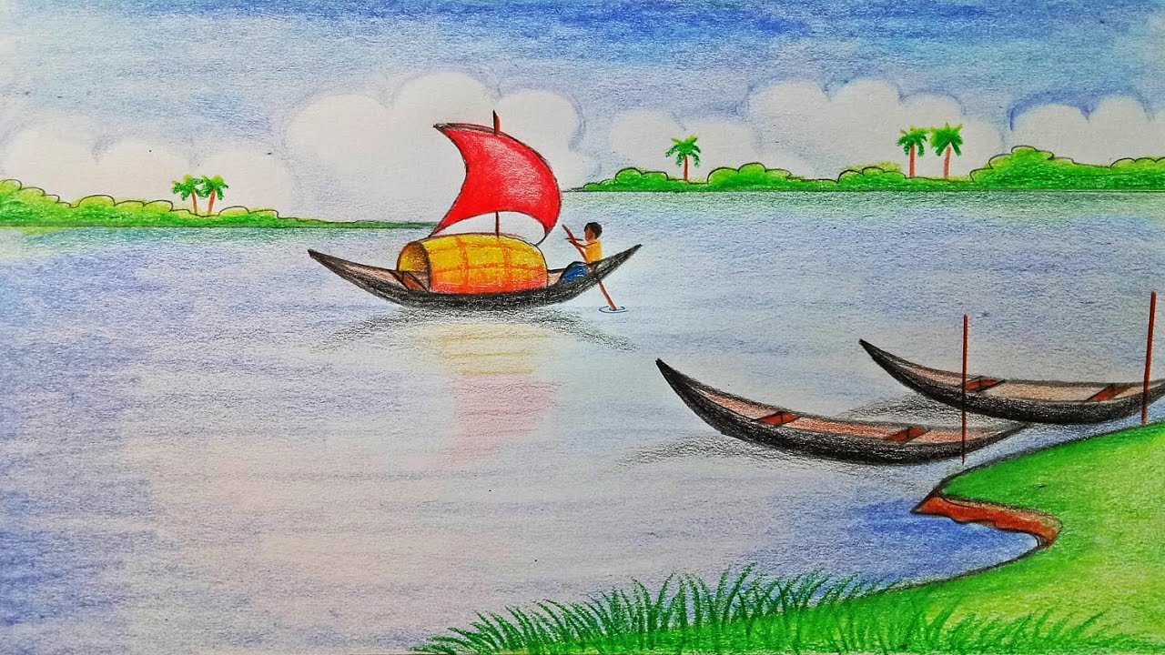 How to draw scenery of river step by step very easy for Fish scenery drawing