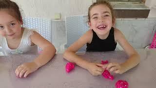 Slime dan şekiller yaptık!!  Eğlenceli kız oyunları slaym challenge