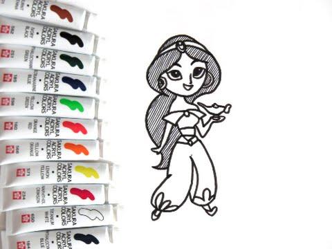 [ ディズニーキャラクター] ジャスミンの描き方 アラジン how to draw jasmine 그림