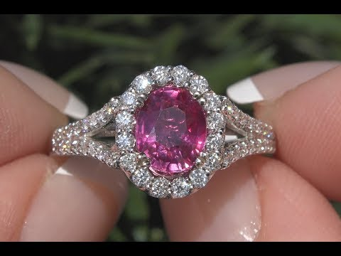 AIGS Certified Pink - Red Unheated Ruby & Diamond Cocktail Ring 14k Gold 2.42 TCW - C228