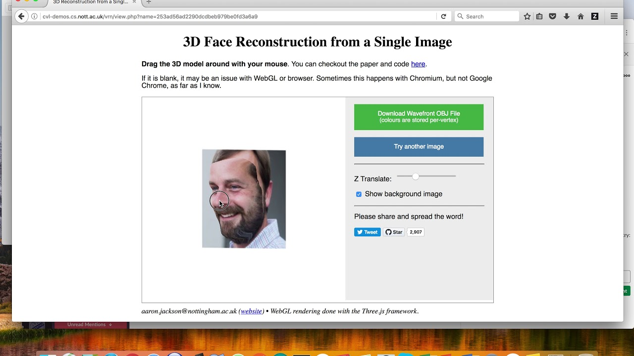 3D model of your face from a single JPG image (python and ML)