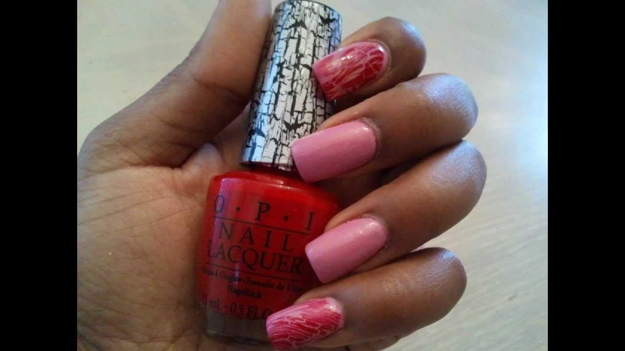 Simple Nail Design: OPI Red Shatter - YouTube
