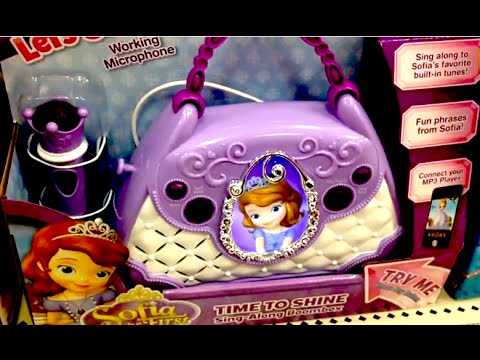 SOFIA THE FIRST Time To Shine Sing-Along Boom Box DISNEY JUNIOR Toy Review