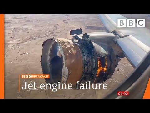 US plane scatters engine debris over Denver homes 🔴 @BBC News live - BBC