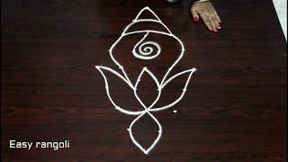 simple shanku kolam designs with 5x1 dots || simple rangoli designs for beginners || easy muggulu