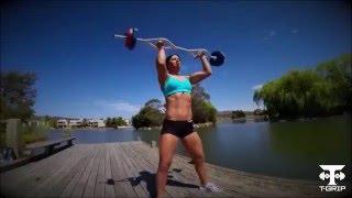 Fitness Model Jenna Douras best workout demo with tgrip bar