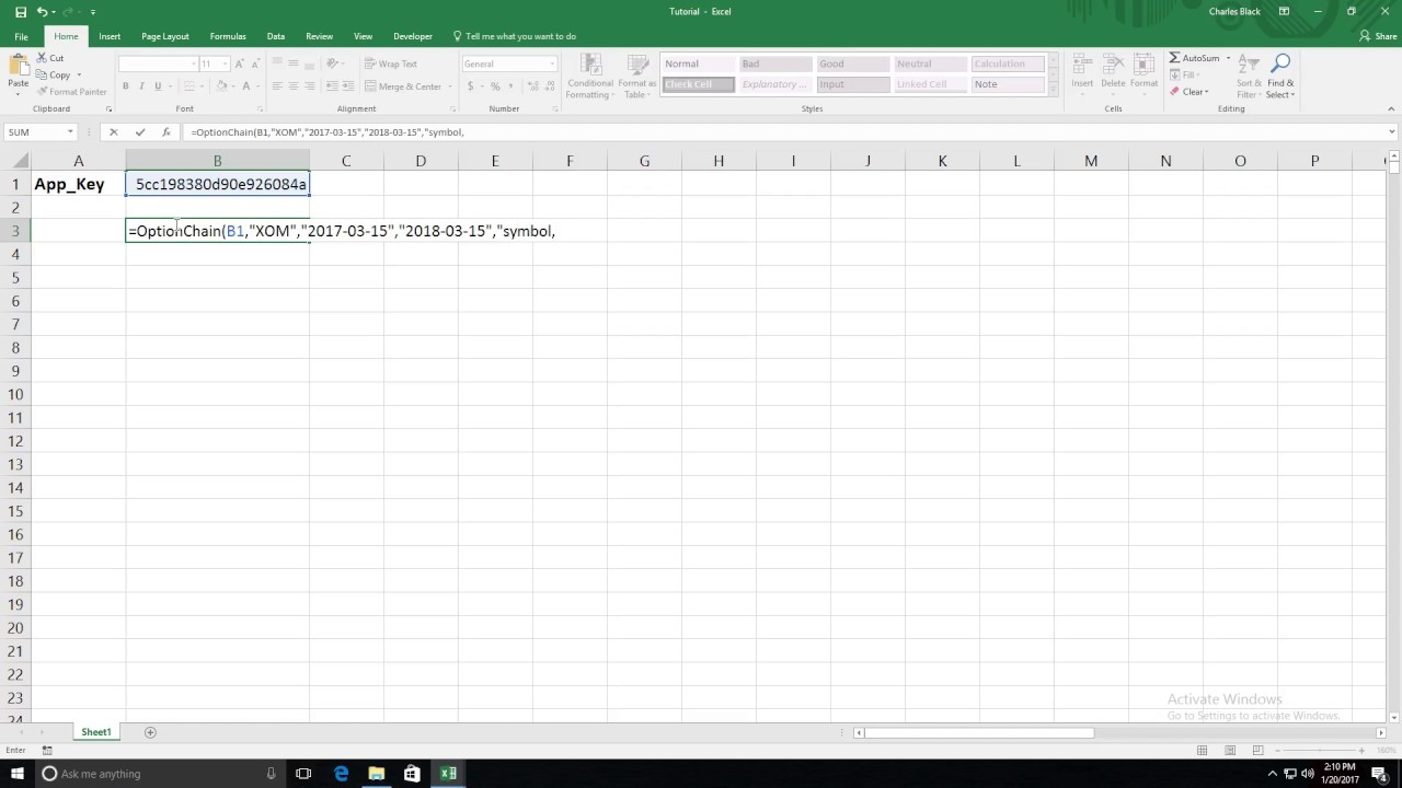 Option Chain Function For Excel