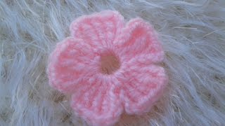 سمسم (4) كروشيه: طريقة عمل وردة سهلة وبسيطة How to Crochet a simple flower