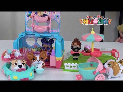 Jenny play 츄비퍼피스 강아지 인형 캠핑카 장난감 놀이 Chubby Puppies & Friends - Vacation Camper Playset