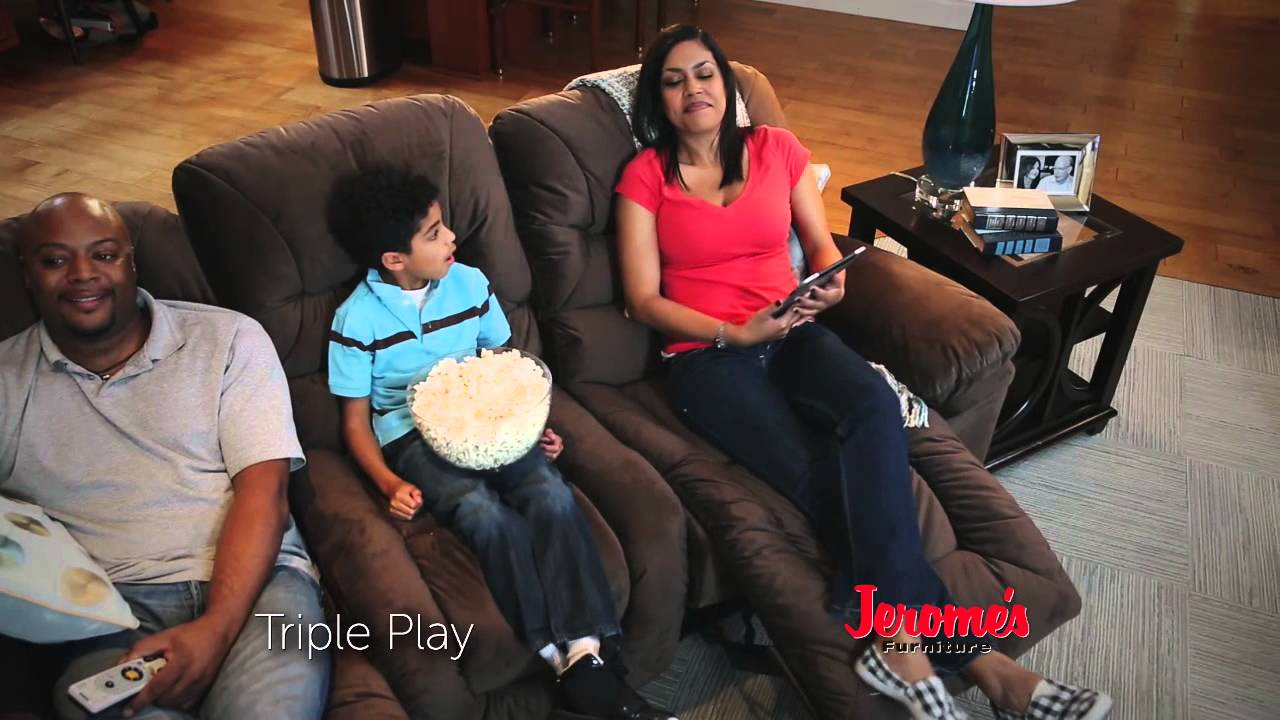 Jeromeu0027s $799 Triple Play Power Reclining Sofa   YouTube