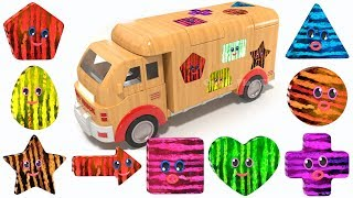 Learn Colors for Kids | 3D Wooden Truck Toy | Learn Geometric Shapes | Shapes for Children
