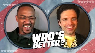 Anthony Mackie and Sebastian Stan Play WHO'S BETTER: Sam vs Bucky | Falcon and the Winter Soldier