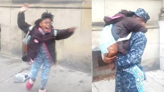 Screaming Girl Stops Mid-Tantrum When Her Navy Brother Surprises Her at School