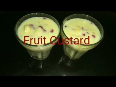 Fruit custard recipe in hindi/Fruit salad with custard powder/Indian  Desserts Recipe