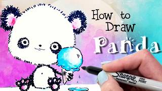 How to Draw a Panda Bear Cute and Easy + 4 Fun Panda Facts / Step by Step Panda Drawing for Kids!