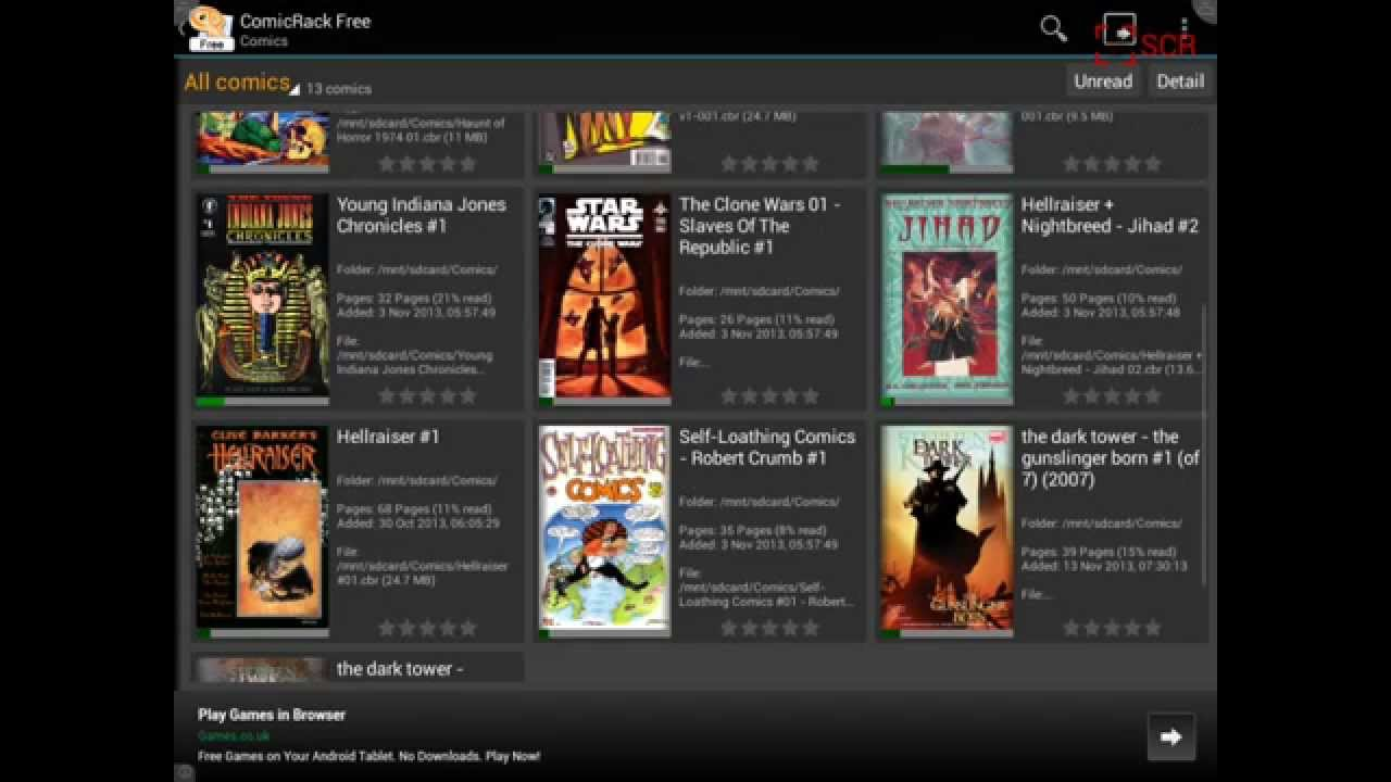 Screen Recorder & ComicRack for Android Tablet (touch screen)