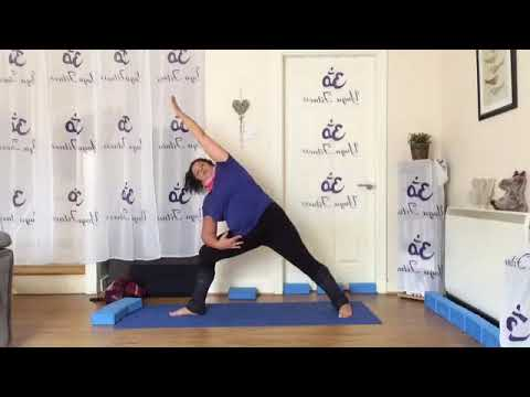 yoga flow 2np part sun salutations with warrior 2 and 1