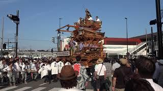 石岡のおまつり2018 奉祝祭 青木町の山車 ぶんまわし&若松町の山車  00109