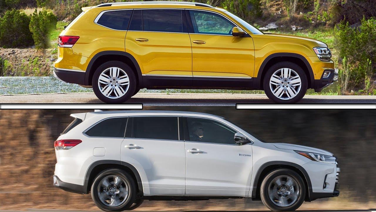 Toyota Highlander Vs Honda Pilot >> 2017 Volkswagen Atlas vs 2017 Toyota Highlander - YouTube