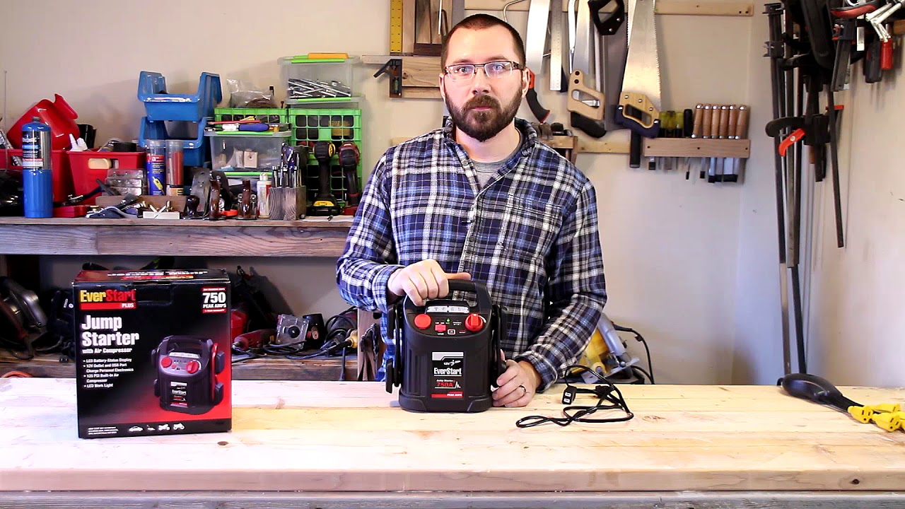 EverStart Jump Starter with Air Compressor Review and Instructional
