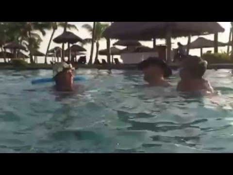 Q jumping into Fiji Pool