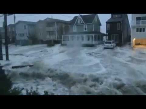Hurricane Sandy Waves Between Houses, Ocean City, NJ - 10/29/2012