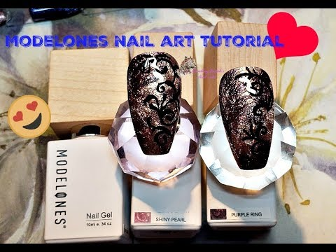 Modelones Nail Art Tutorial using the Glitter Party Set/Filigree hand drawn Art ? thumbnail