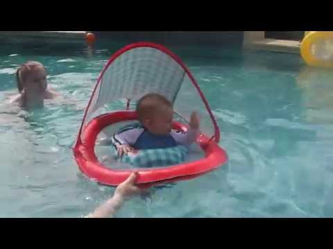Ian's first time in the pool