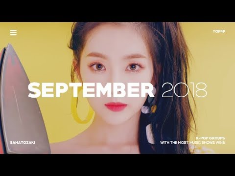 K-POP GROUPS WITH MOST MUSIC SHOW WINS   September 2018