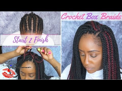 How To: Crochet Box Braids Tutorial NO HAIR OUT Start 2 Finish ...