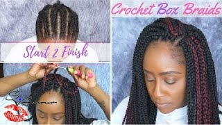 how to crochet box braids tutorial   no hair out   start 2 finish