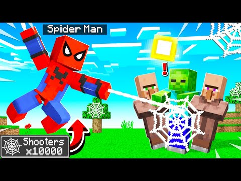 Playing MINECRAFT As SPIDER MAN! (web Shooters)