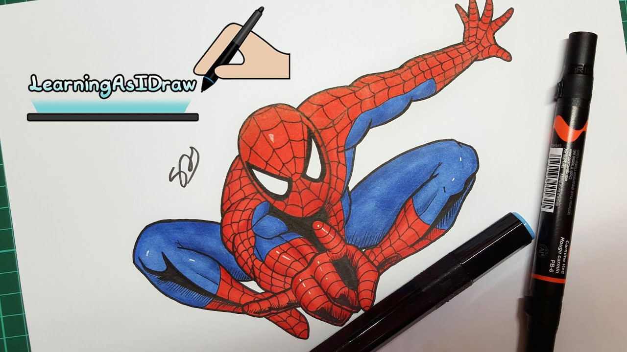Spider-man drawing with alcohol markers: Prismacolor & Spectrum ...