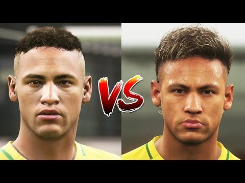 FIFA 18 vs PES 18 Brazil Faces Comparison (Neymar, Casemiro, Coutinho + more)