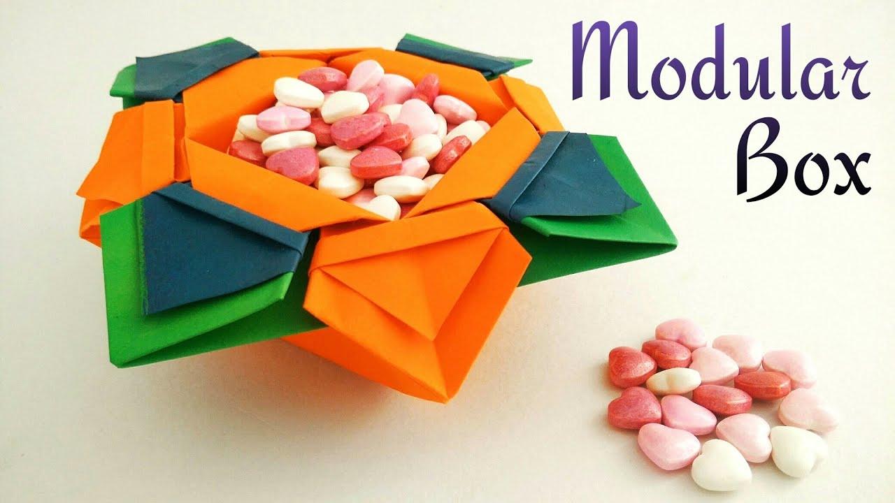 Useful modular origami paper flower box vase bowl youtube mightylinksfo