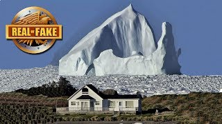 GIANT ICEBERG CREEPS UP ON SMALL HOUSE - real or fake?