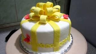 торт Подарок. Бант из мастики. Мастичное оформление торта