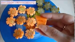 Украшения стола. Цветы из моркови и огурцов.  Как красиво нарезать овощи.