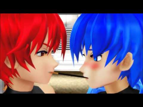 【MMD】 Akaito x Kaito - Pocky Game (Slight Yaoi Warning)