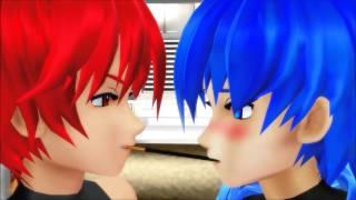 【MMD】 Akaito x Kaito - Pocky Game (Slight Yaoi Warning)