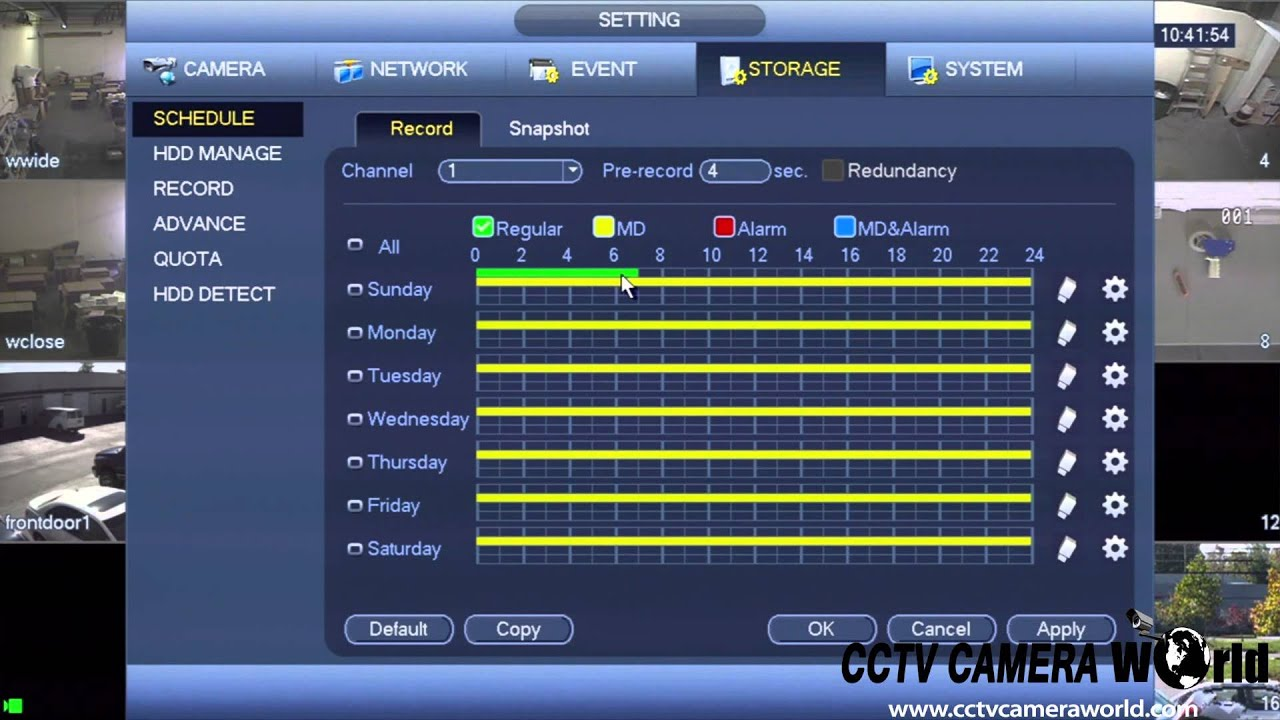 How to setup a recording schedule on your NVR or DVR / CCTV Camera
