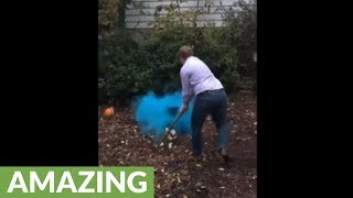 Awesome pumpkin smashing baby gender reveal