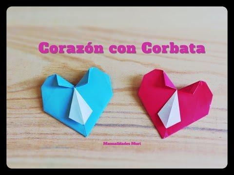 Corazon Con Corbata Origami Dia Del Padre Paso A Paso Youtube - Origami-corazn