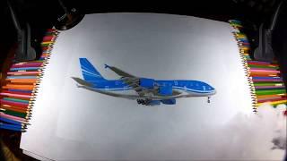 Hypperrealistic drawing Airbus A380 Azerbaijan Airlines ressamimranoglu