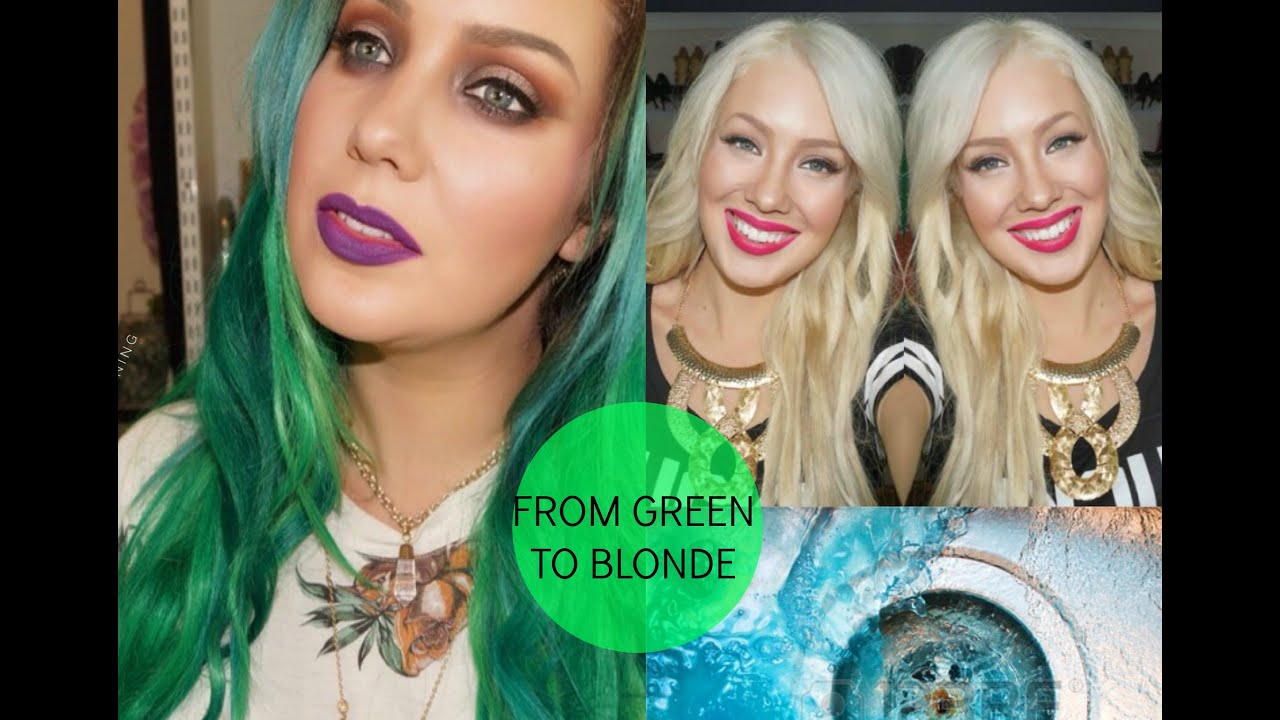 How to remove green blue from your hair from green to blonde how to remove green blue from your hair from green to blonde youtube solutioingenieria Gallery
