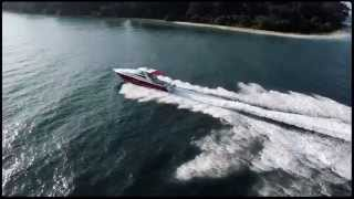 Marathon 48 Sport Cruiser boat with quad Suzuki DF300AP outboard motors